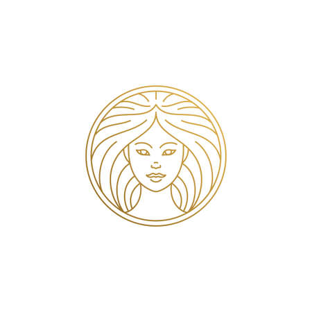 Outline female face logo in circle hand drawn with thin lines Logó