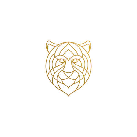 Outline head of gorgeous tiger hand drawn with thin lines