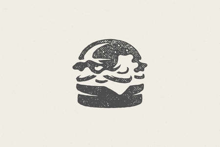 Burger silhouette fast food service hand drawn stamp effect vector illustration. 矢量图像