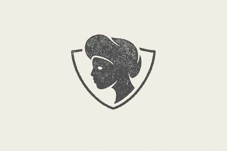 Shield shaped badge with silhouette of head of female chef cook hand drawn stamp effect vector illustration. Vector Illustration