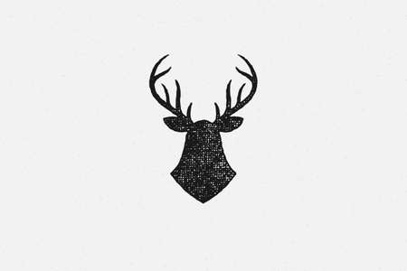 Black silhouette deer head trophy as symbol hunting hand drawn stamp effect vector illustration.