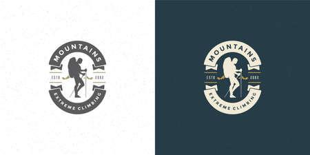 Climber logo emblem outdoor adventure expedition vector illustration mountaineer man silhouette