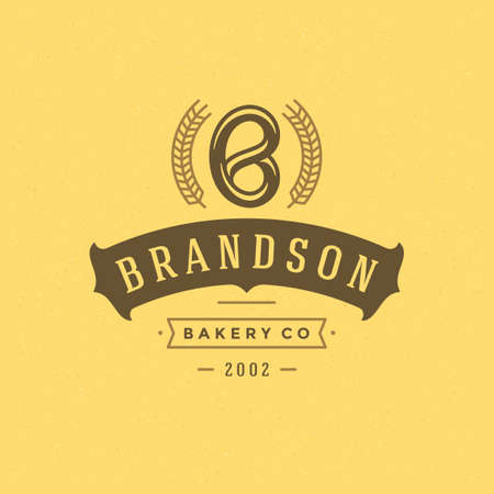 Bakery badge or label retro vector illustration. Pretzel silhouette for bakehouse.