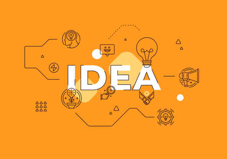 Idea text concept modern flat style vector illustration red banner with outline icons