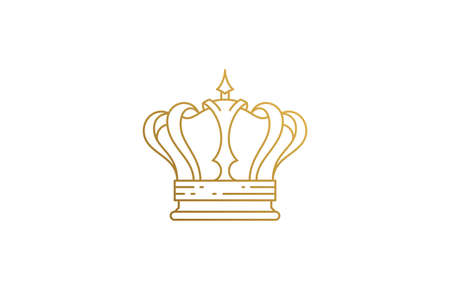 Royal crown headgear accessory silhouette linear vector illustration.