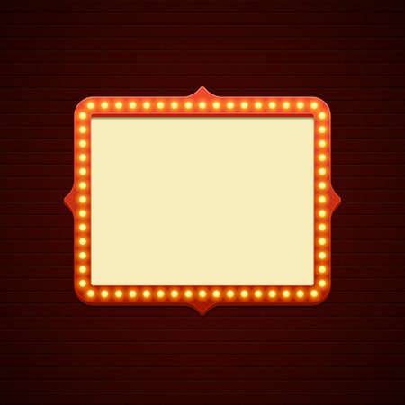 Retro showtime sign design. Cinema signage light bulbs frame and neon lamps on brick wall background.