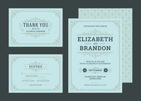 Set wedding invitations cards with flourishes ornaments decoration