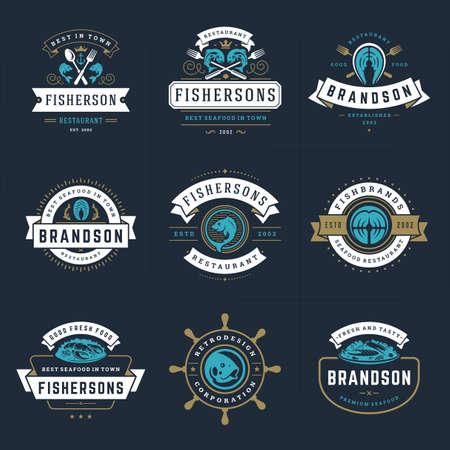 Seafood logos or signs set vector illustration fish market and restaurant emblems templates design