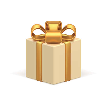 Beige gift box 3d vector icon. Celebration holiday surprise tied with realistic luxurious gold ribbon.