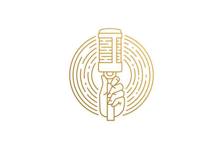 Hand of singer with microphone silhouette linear vector illustration.