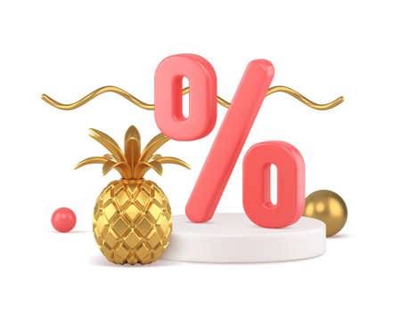 3d discount percentages podium with golden pineapple vector illustration