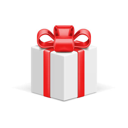 White gift box 3d vector icon and red shiny bow ribbon