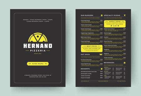 Pizza restaurant menu layout design brochure or food flyer template vector illustration