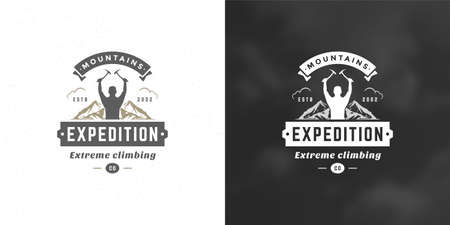 Climber logo emblem outdoor adventure expedition vector illustration mountaineer man silhouette Logos
