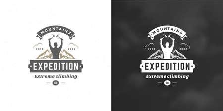Climber logo emblem outdoor adventure expedition vector illustration mountaineer man silhouette Logo