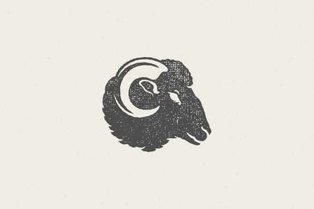 Ram head with horns silhouette for domestic farm industry hand drawn stamp effect vector illustration. Vintage grunge texture emblem for butchery packaging and menu design or label decoration.