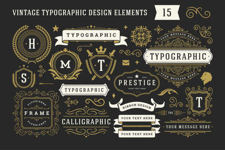 Vintage typographic decorative ornament design elements set vector illustration Vector Illustration