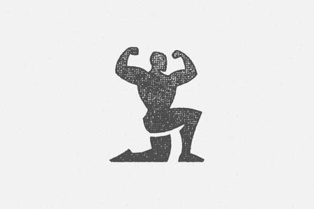 Powerful bodybuilder showing muscles silhouette hand drawn stamp vector illustration.