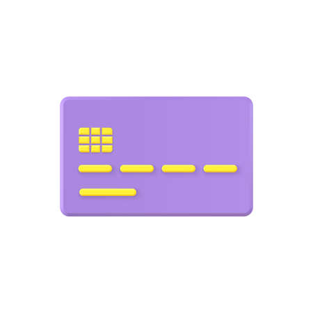 Credit card 3d vector icon. Purple plastic plate with gold chip and financial data. Vecteurs