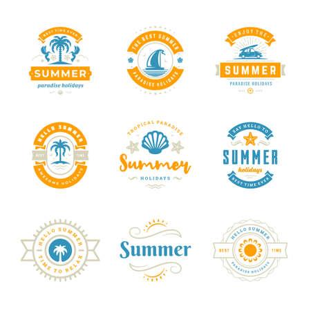 Summer holidays labels and badges retro typography design set. Vector Illustration
