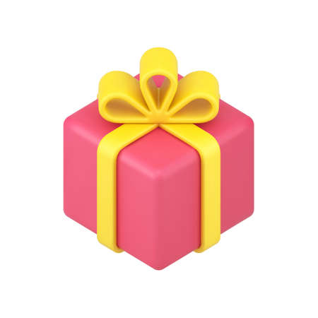 Red square box gift 3d icon. Volumetric surprise with yellow ribbon and bow