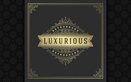 Vintage logo elegant flourishes line art graceful ornaments victorian style vector template design 矢量图像