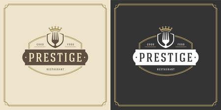 Restaurant logo design vector illustration fork silhouette 矢量图像