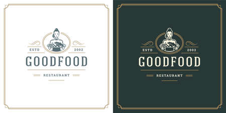 Restaurant logo design vector illustration waitress holding dish plate silhouette 矢量图像
