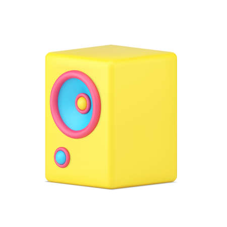 Yellow music speaker 3d icon. Volumetric retro audio speaker