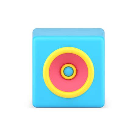 Portable audio speaker 3d icon. Minimalist blue speaker with powerful sound 矢量图像