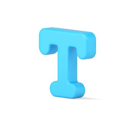 Blue letter T 3d icon. Volumetric typographic text symbol 矢量图像