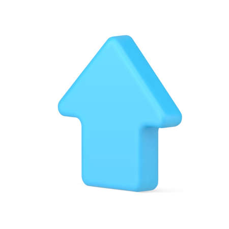 Web arrow indicator 3d icon. Volumetric blue cursor for website