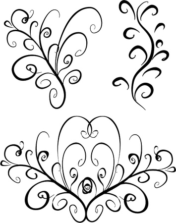 Excellent items for decoration (curls, corners, ornaments, ornament) Stock Vector - 9834808