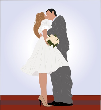 Bride and groom Stock Vector - 9834809