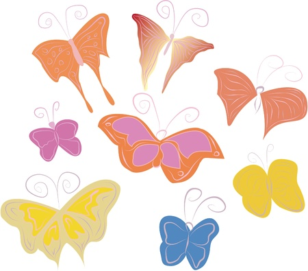 Painted Butterflies Stock Vector - 9932332