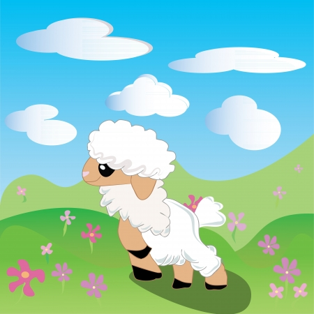 baa: cute sheep on green meadow under blue sky Illustration