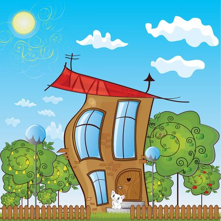 fabulous house with a green garden with a fence, and sitting on the steps of a kitten Stock Vector - 16787829