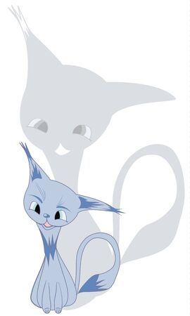 very cute blue cartoon cat with a cheerful shade