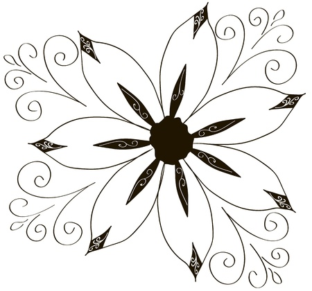 Illustration of curled flowers ornament collection Illustration