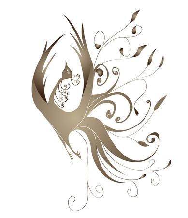 vol d oiseaux: Cadre d�coratif avec des boucles d'or sous la forme d'un oiseau