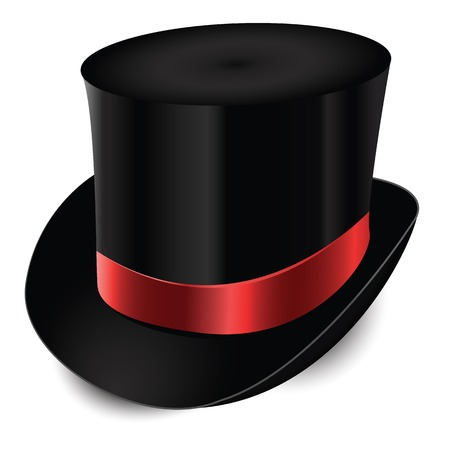 Black hat of the gentleman with a satin ribbon