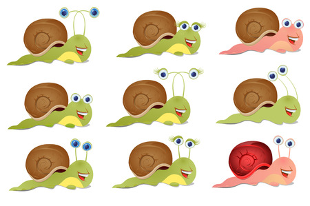 cochlea: Set of three snails, isolated on white Illustration