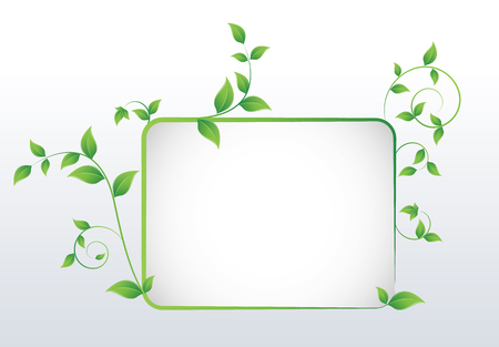 Nature concept with green leafs and space for your text on abstract grey background Illustration