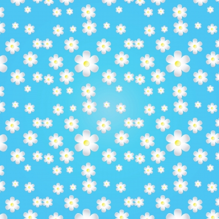 Blue background with white and dark blue flowers Stock Photo