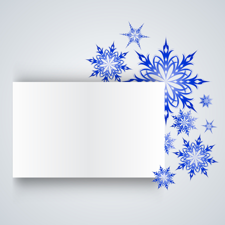 snowflake on a paper background.  Illustration