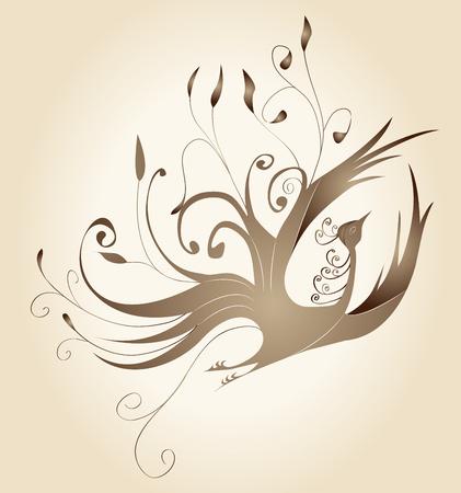 f�nix: Marco decorativo con rizos de oro en forma de un p�jaro