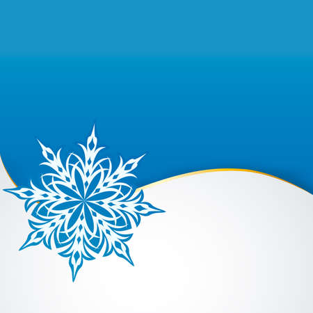 snowflake on a paper background.  Vector