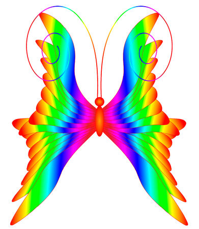 prepress: Vector illustration of multicolored butterfly