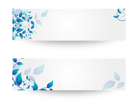 banner with flowers and leaves