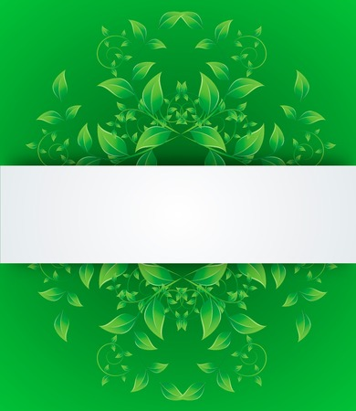 Green leaves in the form of abstract banner